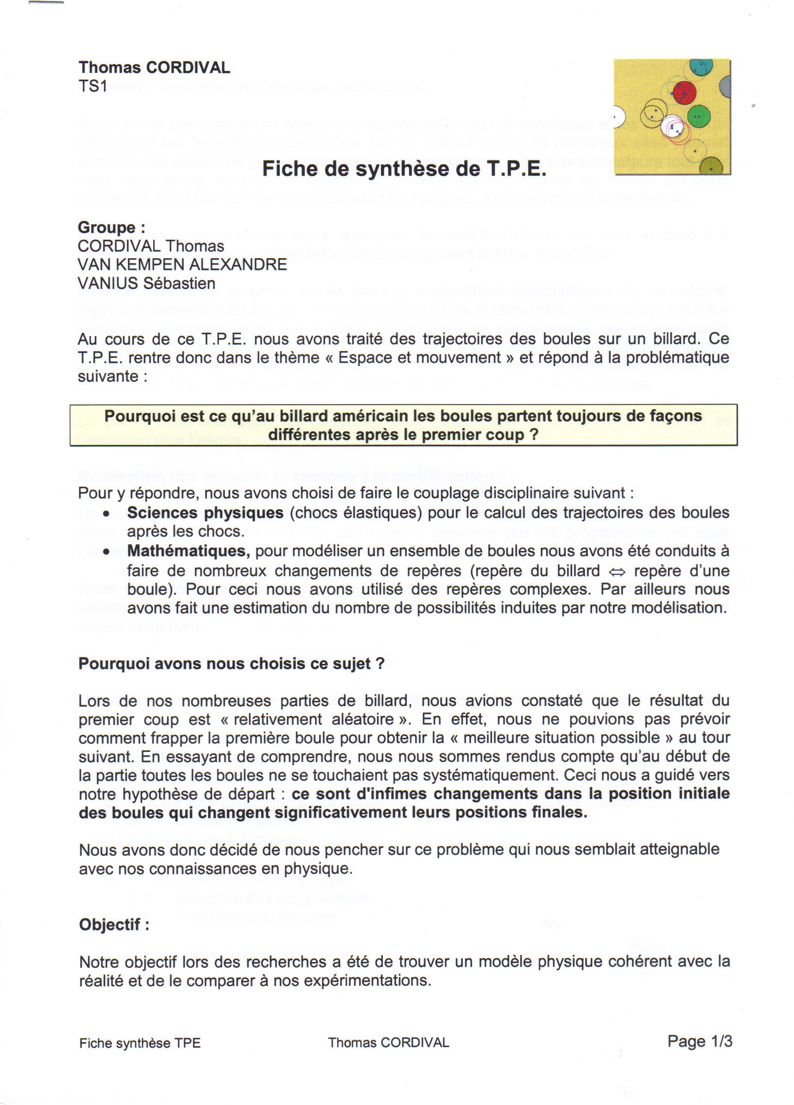 exemple de tpe synthese